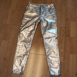 Zara silver metallic skinny jeans size 4